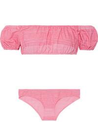 Lisa Marie Fernandez Leandra Off The Shoulder Stretch Cotton Blend Bikini Pink