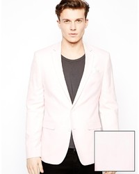 Asos Slim Fit Blazer In Oxford Pink