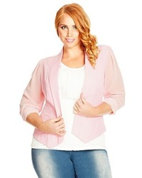 City Chic Plus Size Chiffon Sleeve Blazer