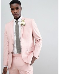 Farah Smart Farah Skinny Suit Jacket In Pink