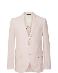 Club Monaco Grant Light Pink Slim Fit Linen Blazer