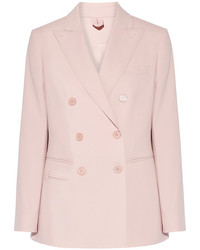 Max Mara Derrik Double Breasted Stretch Wool Blazer Pastel Pink