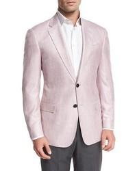 Melange two button sport coat pink medium 1310182