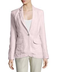 Neiman Marcus One Button Fitted Linen Blazer