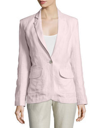 One button fitted linen blazer plus size medium 773627