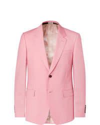 Alexander McQueen Pink Slim Fit Wool And Mohair Blend Suit Jacket