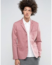Asos Skinny Blazer In Washed Cotton In Pink