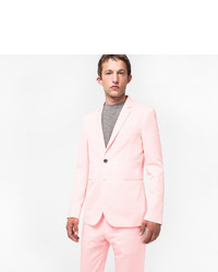 Paul Smith Slim Fit Light Pink Cotton And Linen Blend Buggy Lined Blazer