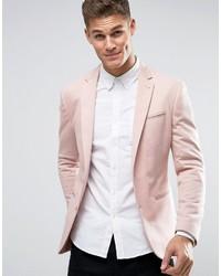 Asos Super Skinny Jersey Blazer In Pink