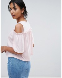Daisy Street Cold Shoulder Top With Wide Sleeve