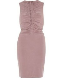 River Island Blush Pink Ruched Bodycon Midi Dress