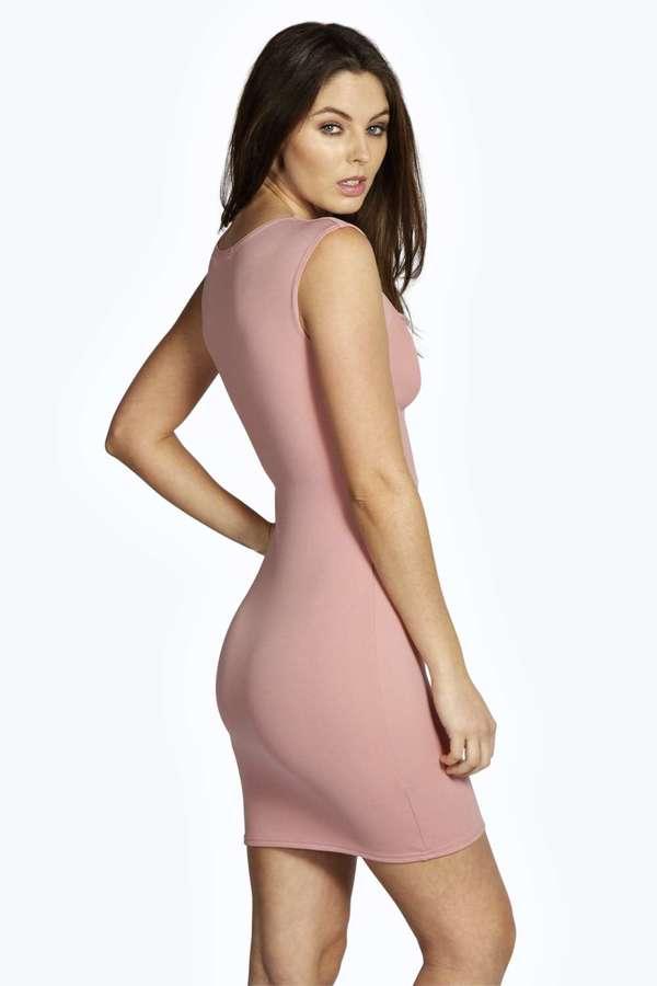 98a51e6585539 Boohoo Tasha Plunge Cap Sleeve Bodycon Dress, $35   BooHoo   Lookastic.com