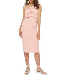 Topshop Bow Twist Textured Midi Dress