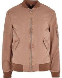 River Island Big And Tall Pink Washed Bomber Jacket