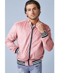 Boohoo Pink Faux Suede Bomber Jacket