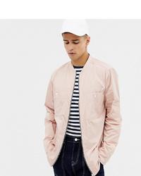 Noak Zip Front Overshirt In Pink With Long Sleeves