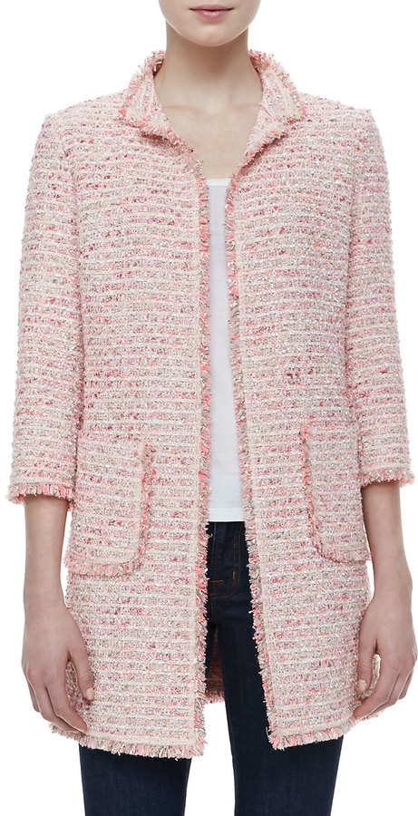 Neiman Marcus Fringe Trim Boucle Jacket | Where to buy & how to wear