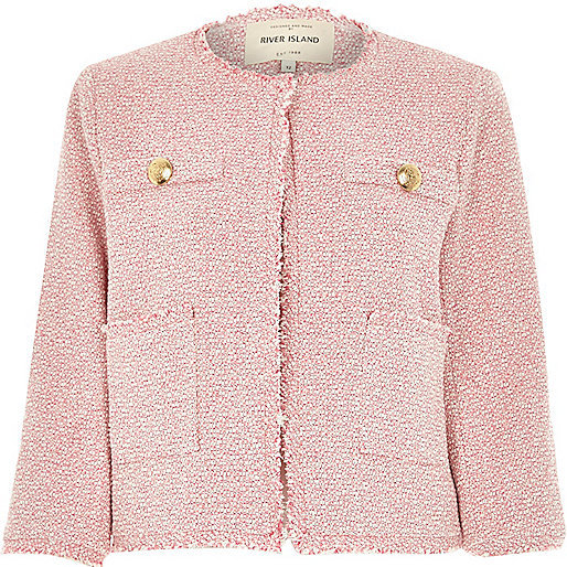 River Island Pink Boxy Boucle Jacket | Where to buy & how to wear
