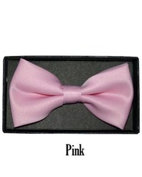 TheDapperTie Pink Solid Pre Tied Bow Tie Basic