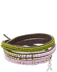 Chan Luu 3 Wrap Ombre Seed Bead Bracelet With Breast Cancer Ribbon Charm