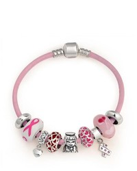 Bling Jewelry Breast Cancer Awareness Dangle Heart Charm Bracelet Fits Pandora
