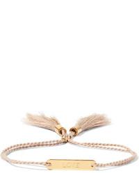 Chloé Messages Gold Tone Cotton Bracelet Pink