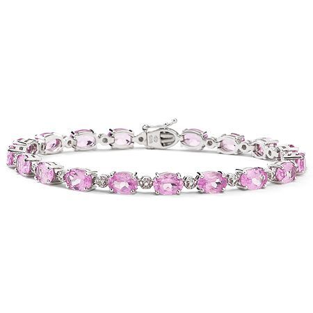 FINE JEWELRY Lab Created Pink Sapphire Tennis Bracelet Sterling Silver