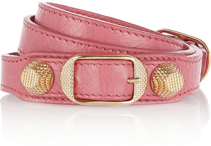 105d30e51fad2 $245, Balenciaga Giant Triple Tour Textured Leather And Gold Tone Bracelet  Pink