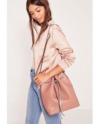 Missguided Drawstring Bucket Bag Blush Pink
