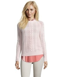 Blush cable knit cashmere crewneck sweater medium 457474