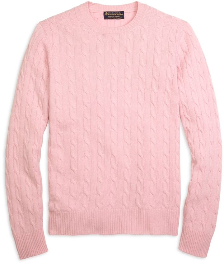 Brooks Brothers Cashmere Cable Crewneck Sweater | Where to buy ...