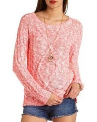 Charlotte Russe Neon Marled Cable Knit Sweater