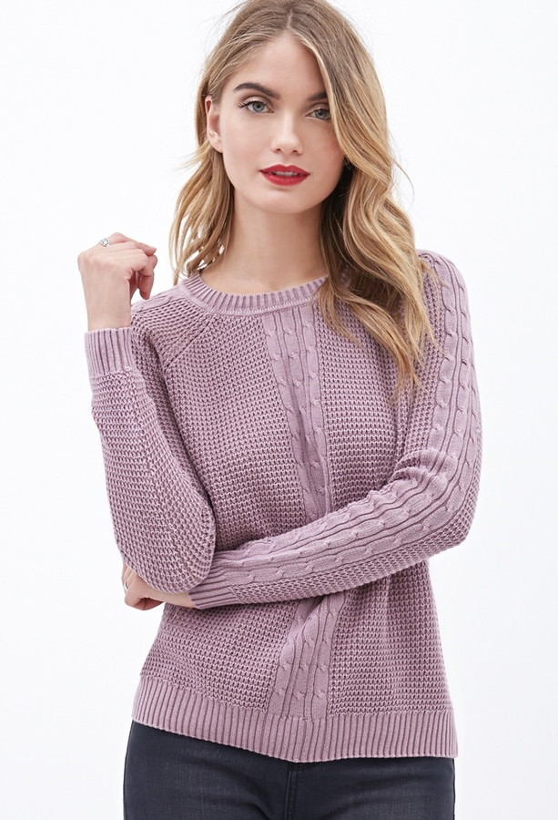 0c07aa90b8be ... Forever 21 Contemporary Cable Knit Waffle Sweater ...