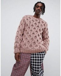 ASOS DESIGN Hand Knitted Heavyweight Jumper In Faded Pink