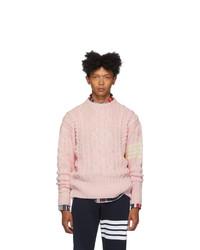 Thom Browne Pink Aran Cable 4 Bar Sweater