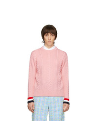 Thom Browne Pink Merino Aran Cable Sweater