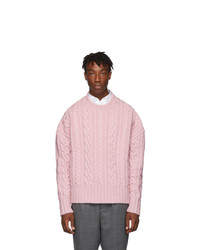 AMI Alexandre Mattiussi Pink Oversized Torsades Crewneck Sweater