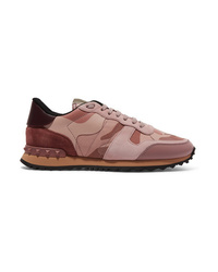 Valentino Garavani Leather And Med Camouflage Print Canvas Sneakers