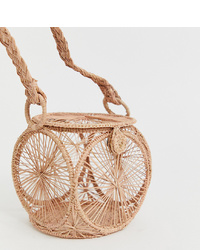 Kaanas Woven Raffia Handle Detail Clutch Bag In Pink