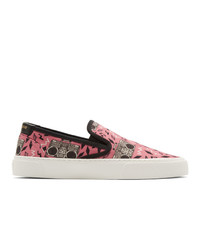 Saint Laurent Pink Radio Print Venice Slip On Sneakers