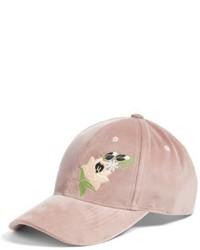 Embroidered Velvet Baseball Cap Pink