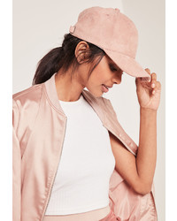 Missguided Pink Faux Suede Baseball Cap