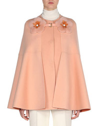 Fendi Cashmere Cape With Mink Flower Buckle