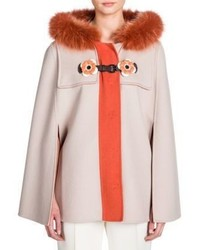 Fendi Flower Detail Double Face Wool Fox Fur Cape