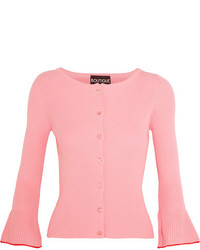 Moschino Boutique Ribbed Cotton Cardigan Pink