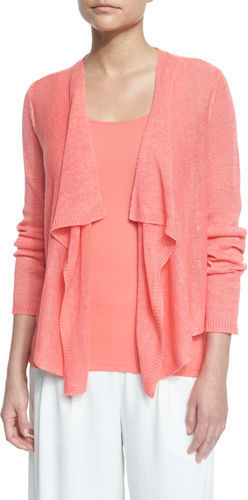 ed6f2242332 ... Neiman Marcus › Eileen Fisher › Pink Cardigans Eileen Fisher Draped  Front Organic Linen Cardigan Petite ...