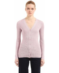 Prada Lurex Wool Silk Rib Knit Cardigan