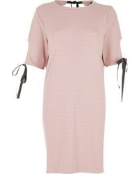 River Island Blush Pink Bow T Shirt Dress