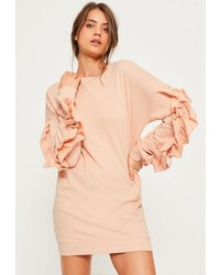 Missguided Pink Frill Sleeve Sweater Dress