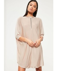 Missguided Pink Slinky Zip Front Oversized Dress